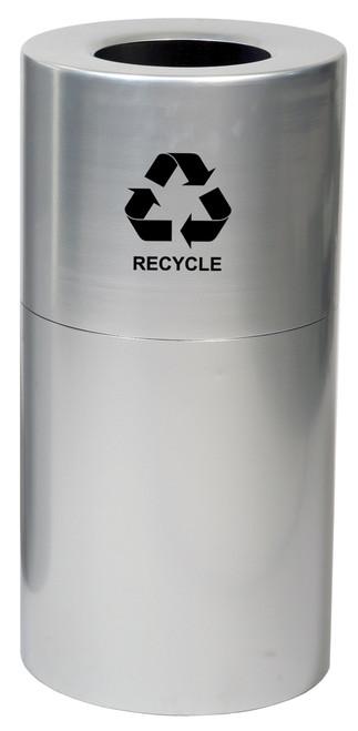 24 or 35 Gallon Aluminum Recycling Trash Container Open Top AL-CLR-R (2 Sizes)