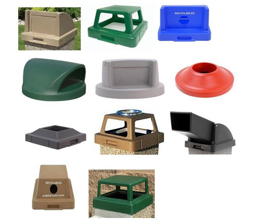 30 Gallon and 53 Gallon Plastic Lids Concrete Trash Cans Square & Round TFLIDS