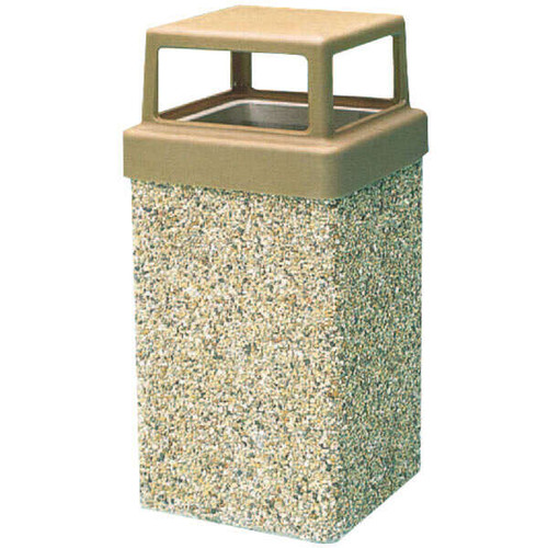10 Gallon Concrete 4 Way Open Top Outdoor Waste Container TF1005 Exposed Aggregate A1