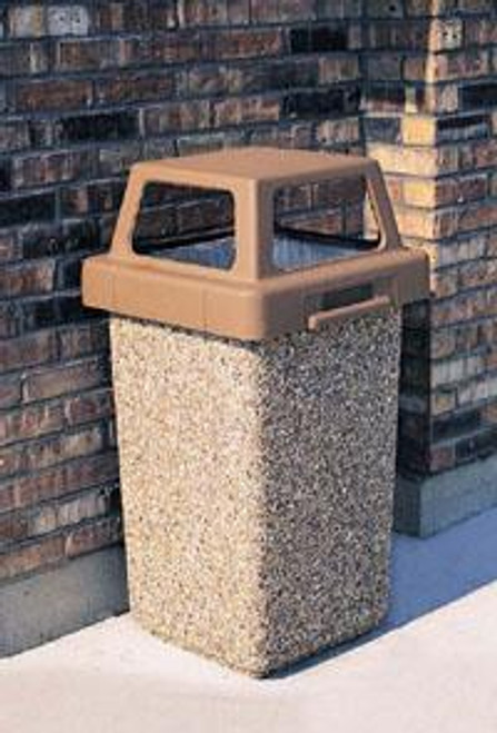 30 Gallon Concrete 4 Way Open Top Outdoor Trash can TF1016 Exposed Aggregate A1