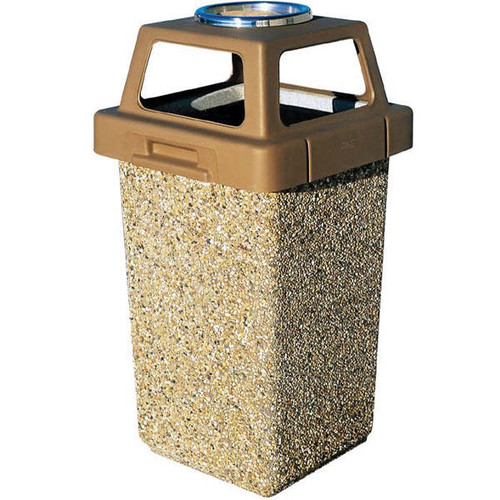 30 Gallon Concrete Outdoor Ash Trash Waste Container TF1009 Exposed Aggregate