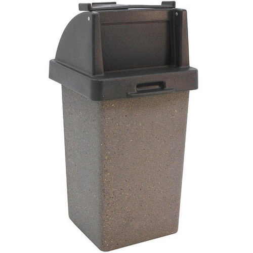 30 Gallon Restaurant Trash Can with Tray Holder TF1020 in Weatherstone Charcoal
