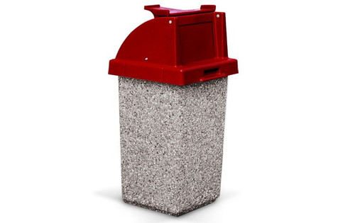 30 Gallon Restaurant Trash Can with Tray Holder TF1020 in Exposed Gray