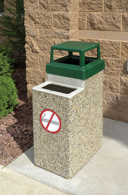 10 Gallon Concrete Ash Trash Outdoor Waste Container TF2075 Exposed Aggregate
