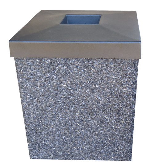 40 Gallon Open Top Outdoor Concrete Garbage Can Pepper