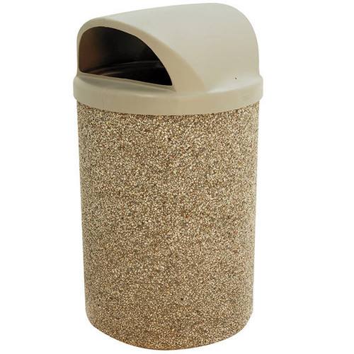 53 Gallon Concrete 2 Way Dome Top Outdoor Waste Container TF1150 in Exposed Aggregate