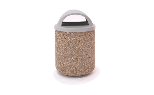 42 Gallon Concrete 2 Way Open Dome Top Outdoor Waste Container TF1165 Exposed