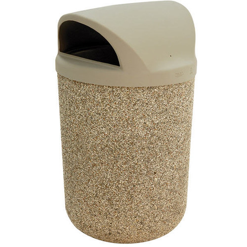 31 Gallon Concrete 2 Way Open Dome Top Outdoor Waste Container TF1100 Exposed Aggregate