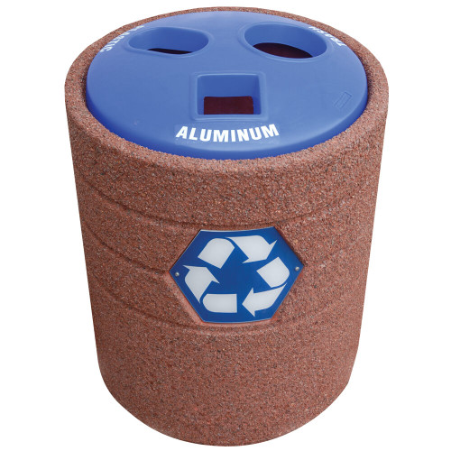 42 Gallon Concrete Recycling Top Outdoor Waste Container TF1223 with Blue
