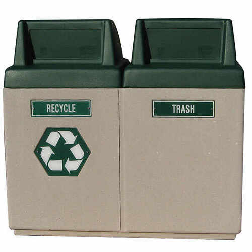 90 Gallon Concrete Dual Recycling Outdoor Waste Receptacle TF1007