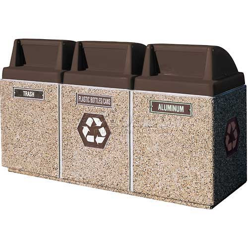 Outdoor Recycling Center TF1222 Exposed Tan with Brown Lids