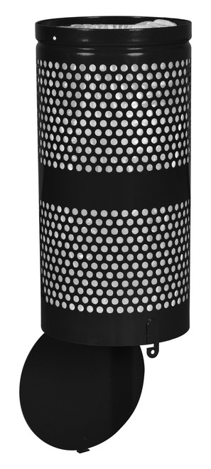Excell Landscape Outdoor Drop Bottom Trash Can WR690 in Black Gloss