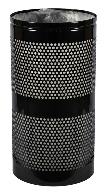 Excell Landscape Outdoor Perforated Trash Can WR34 in Black Gloss