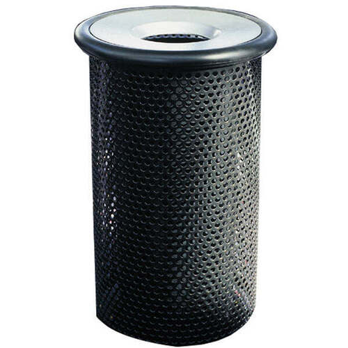 10 Gallon Metal Armor Funnel Lid Outdoor Waste Container MF3010 with Black Rim