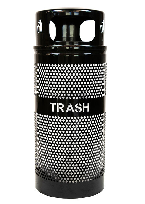 34 Gallon Landscape Series Perforated Trash Container with Dome Top WR-34R DM BLACK