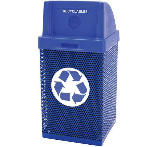 38 Gallon Metal Armor Blue Recycling Outdoor Waste Container MF3058 in Blue