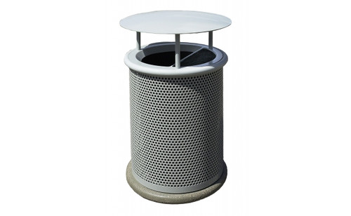 Classic Ash n' Trash waste container with rain cover. (Shown with optional concrete base MF7100)