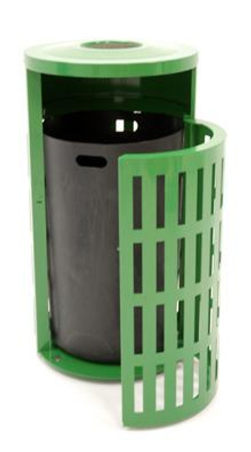 41 Gallon Metal Armor Outdoor Trash Can with Snuffer and Side Door MF3301