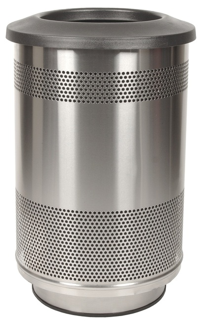Stadium Series 55 Gallon Stainless Steel Trash Container Flat Top