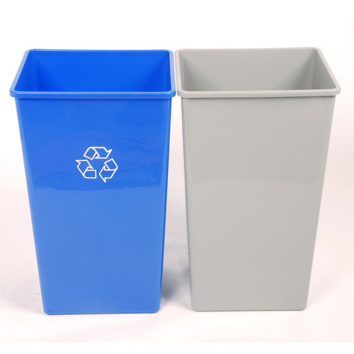 affd1e96cfd5 22 Gallon Plastic Indoor Single Stream Recycling Bin or Trash Can SSB22