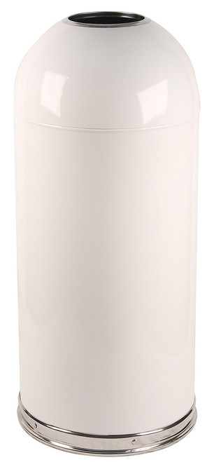 15 Gallon Metal Open Dome Top Trash Can 415dtwh White