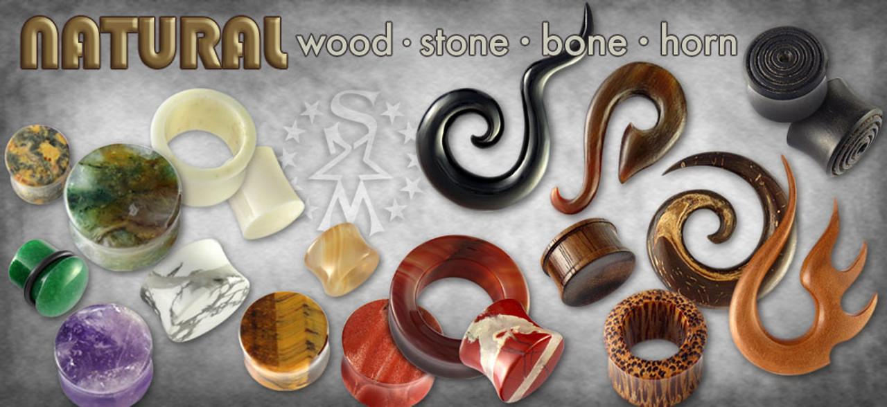 Natural Plugs & Gauges, Bone Tunnels, Wood Hangers, Stone Plugs, Stone Gauges, Stone Single Flares