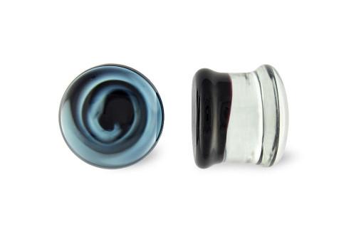 Pair Black and White Swirl Pyrex Glass Plugs