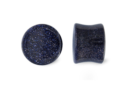 Pair Blue Goldstone Glass Plugs