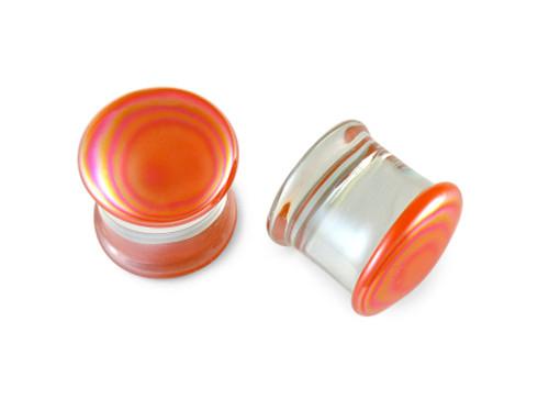Pair Orange Creamsicle Glass Plugs