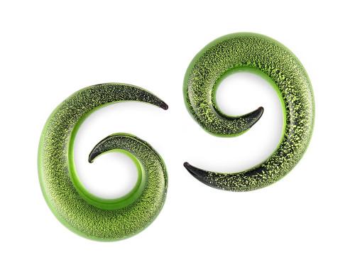Pair Light Green Glitter Pyrex Glass Spiral
