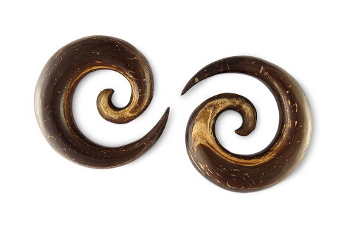Pair Coconut Shell Wood Spirals
