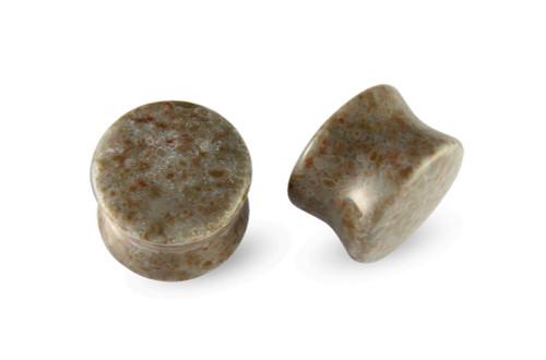 Pair Spot Agate Stone Plugs