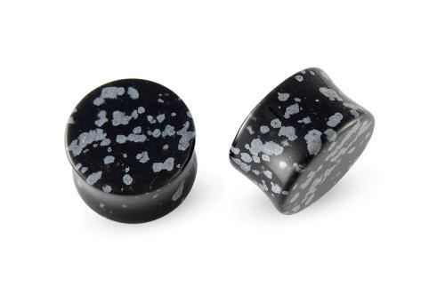 Pair Obsidian Snowflake Stone Plugs