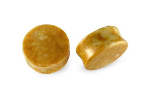 Pair Yellow Burmese Stone Plugs