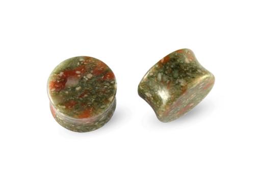 Pair Green Spot Marble Stone Plugs