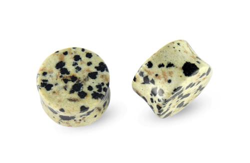 Pair Jasper Dalmatian Stone Plugs