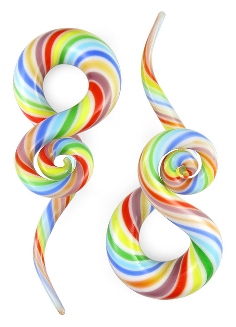 Pair Rainbow Twist Curls and Loops Pyrex Glass Twisters