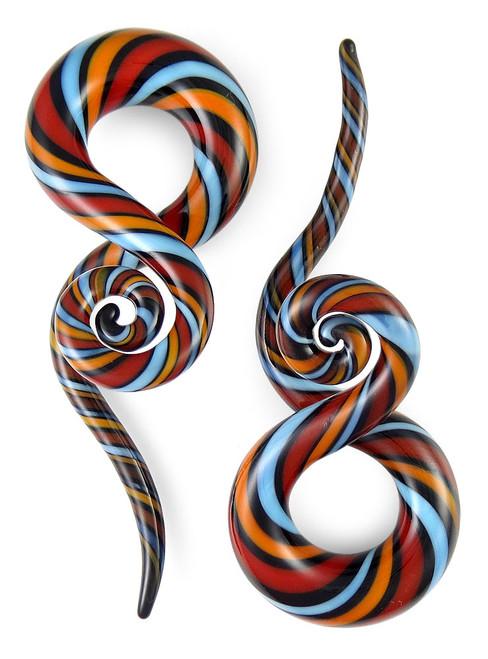 Pair Nightshade Twist Curls and Loops Pyrex Glass Twisters