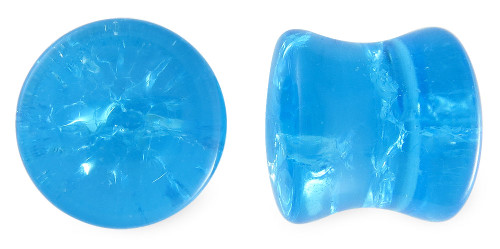 Crystal Blue Cracked Glass Plugs