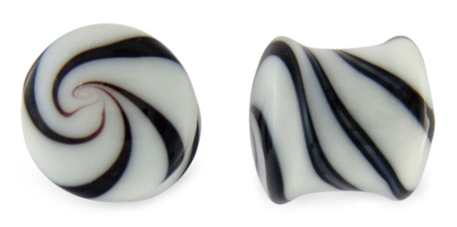 Pair Black and White Candy Swirl Glass Plugs