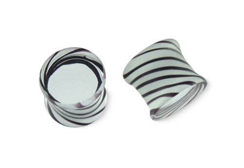 Pair Black and Clear Tornado Glass Plugs