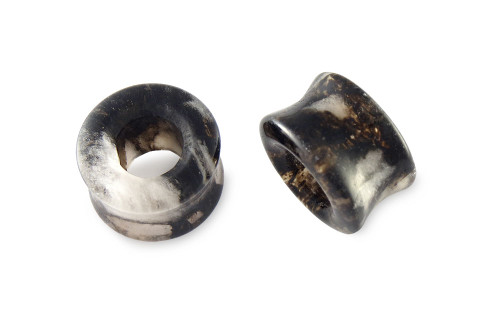 Pair Black and Clear Glass Tunnels