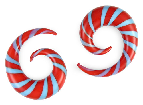 Pair Blue and Red Glass Spiral