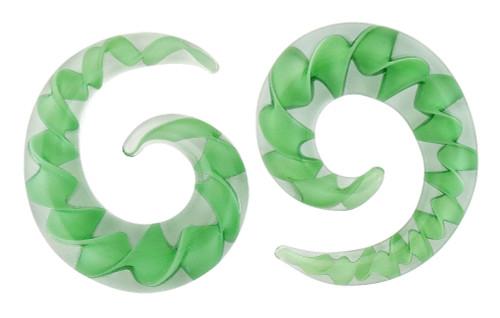 Pair Green Ribbon Pyrex Glass Spiral