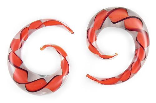 Pair Red Black Ribbon Pyrex Glass Spiral