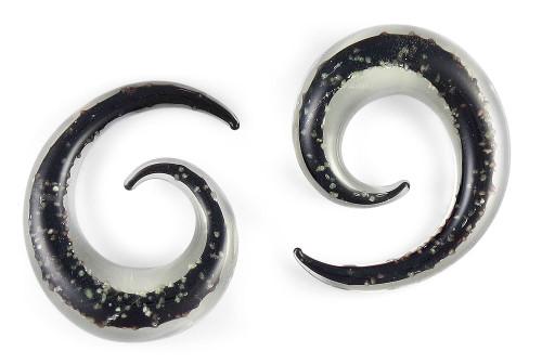 Pair Glow in the Dark Black Pyrex Glass Spiral