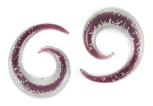 Pair Glow in the Dark Purple Pyrex Glass Spiral