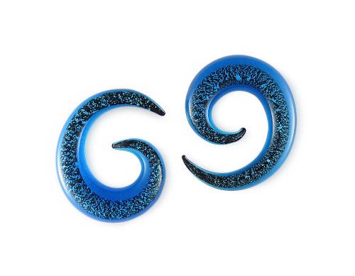 Pair Aqua Glitter Pyrex Glass Spiral