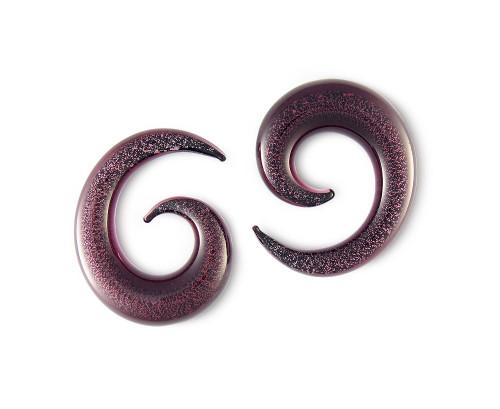 Pair Purple Glitter Pyrex Glass Spiral