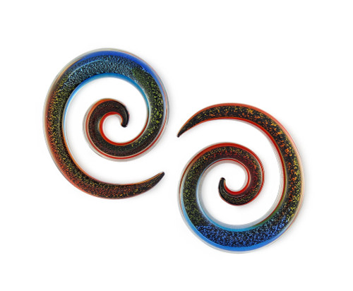 Pair Cosmic Glitter Pyrex Glass Jumbo Spiral